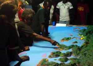 Proponents and experts conduct mapping in Solomon Islands. (Photo by James Hardcastle/TNC)