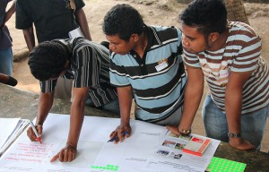 Community members discuss climate change adaptations in Atauro, Timor-Leste