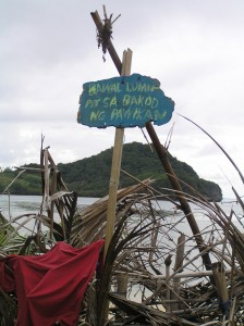 """Sign says: """"Stay Away from Sea Turtle Fence"""" (Photo by Marilou Drilon)"""
