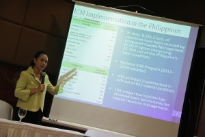 Nancy Bermas, Senior Country Program Manager for PEMSEA, presented data on some of PEMSEA's Integrated Coastal Management Programs. (Photo by CTKN)