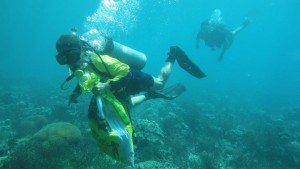 Philippine Navy divers collect trash underwater off the shores of Plantation Bay Resort.