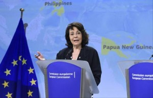 European Union commissioner for Maritime affairs and Fisheries, Maria Damanaki, speaks during a press conference dedicated to the issue of illegal, unreported and unregulated fishing at the EU headquarters in Brussels on June 10, 2014. (Photo by John Thys/AFP)