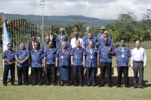A group photo the officials at the Third International Conference on Small Island Developing States. (Photo by: UN Photo/Evan Schneider)