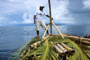 A low-tech, nearshore fish aggregation device (FAD) using a bamboo float and palm fronds (the 'aggregator') that are hung at the surface or several meters below the float to attract fish. (Photo by: WWF, Solomon Islands)