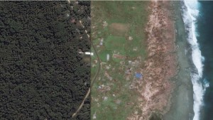 Images from the air of the town of Epao in Vanuatu before and after Cyclone Pam. (Image from: Digital Globe/Google Earth)