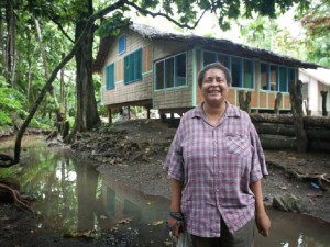 Isabel O'Connor is the owner and operator of the ecotourism lodge in Divinai village in Milne Bay. She is implementing marine conservation with CI. (Photo by: USAID CTSP / Tory Read)