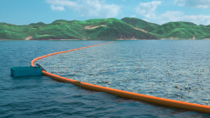 A large, floating barrier deployed near the Japanese island of Tsushima will block and gather plastic trash. (Photo from: The Ocean Cleanup Team)