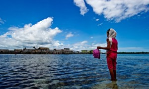 A girl of the Sama Bajau ethnic group collects shellfish near her stilt village off the coast of Sulawesi, Indonesia. (Photo by: James Morgan/WWF)