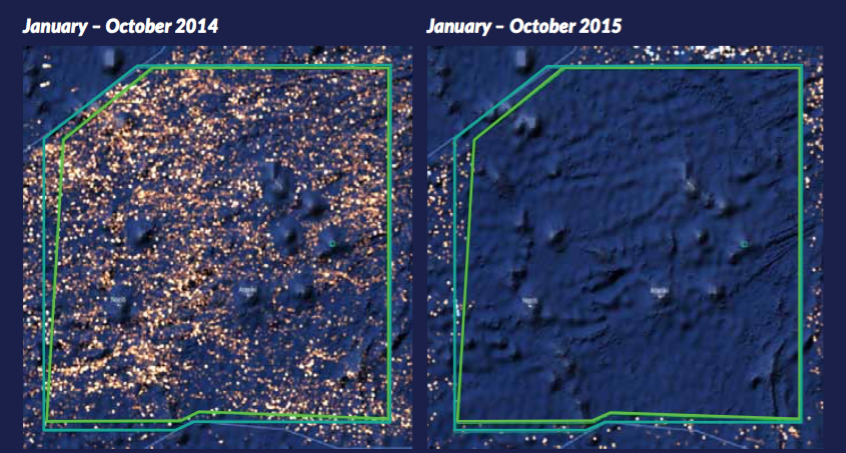 Bright spots in the satellite image at left signify the presence of fishing vessels within the waters of the Phoenix Islands Protected Area (outlined in green) in 2014. The image at right shows the area in the same 10-month period in 2015. (Photo from: Global Fishing Watch)