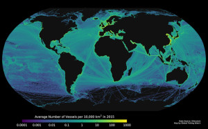 An illustration of ship traffic in 2015. View gallery. (Photo by: Global Fishing Watch.)