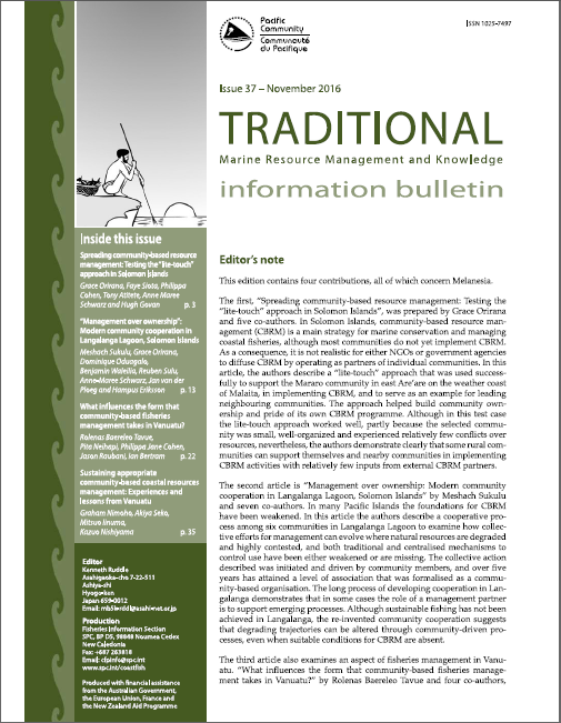 Traditional Marine Resource Management and Knowledge Information Bulletin